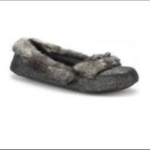 Isotoner Silver sparkle faux fur slippers